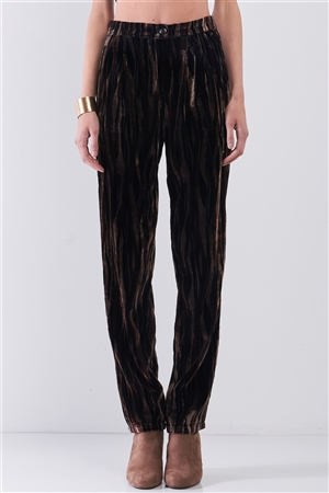Brown Tiger Stripe Print Velvet Buttoned High Waist Balloon Pants