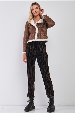 Brown Tiger Stripe Print Velvet Buttoned High Waist Balloon Pants /1-3-2
