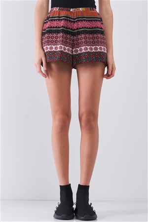 Berry Paisley Multi Print High Waist Summer Mini Shorts With Pockets /1-2-2-1