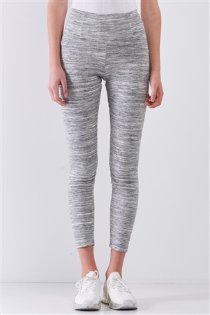 Heather Grey Basic High Waist Fit Yoga Stretchy Legging Pants /1-2-2-1