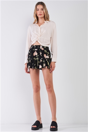 Black & Multi Floral Print High-Waisted Smock Wide Leg Shorts /1-2-2-1