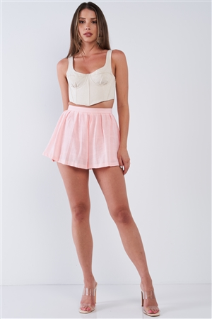 Sweet Pink Pleated High Waist Light Plaid Babydoll Flare Mini Shorts