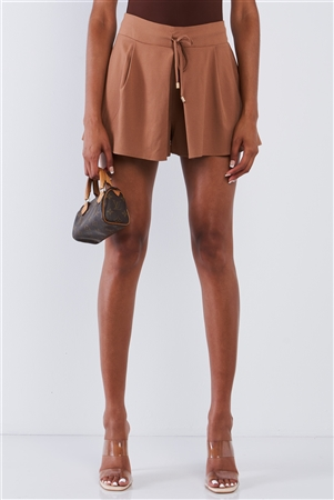 Mocha High Waisted Front Pockets Loose Fit Slightly Pleated Flutter Mini Shorts With Draw String Tie Golden Aglet Detail / 1-2-2-1