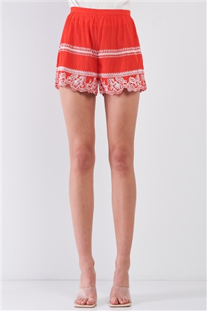 Red & White Tribal Floral Embroidery High Waist Summer Mini Shorts /1-2-2-1