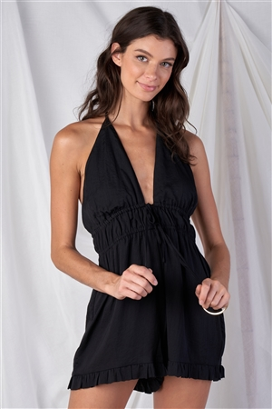 Solid Black Satin Open Back Halter Top Ruffle Hem Front Double Draw String Tie Romper /1-2-2-1