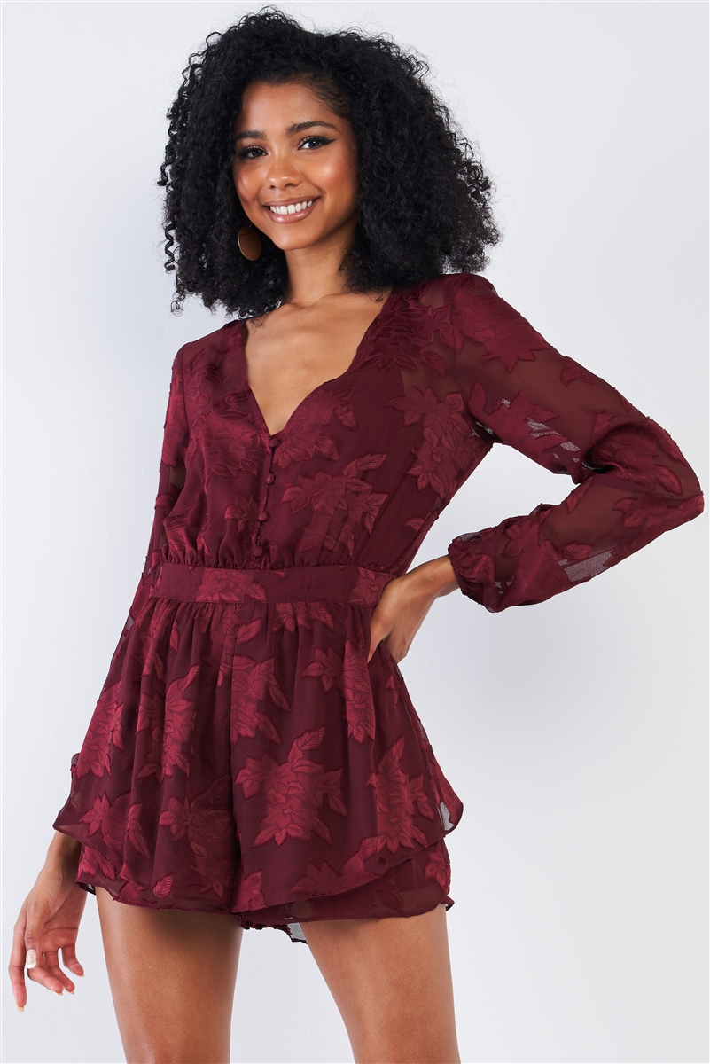 Cabernet Red Long Sleeve Layered Lace V-neck Button Up Romper