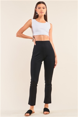 Black High Waist Fitted Ankle Length Pants