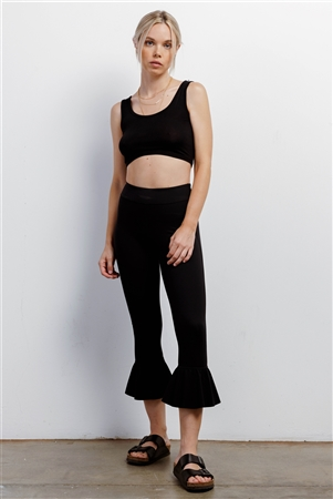 Black Retro High-Waisted Elastic Bell Leg Fitted Capri Pants /1-2-2