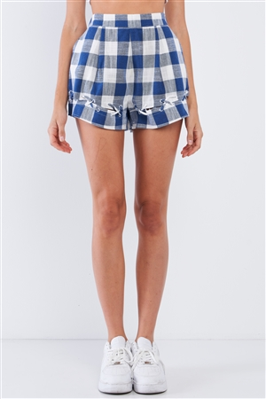 Blue&White Cotton Checkered High Waist Cross Thread&Hem Mini Shorts With Pockets /1-2-2-1