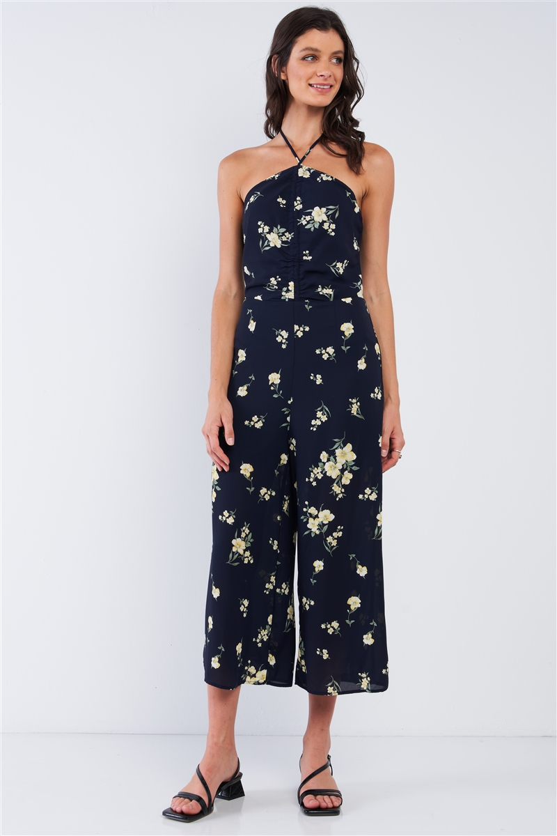 Navy Blue Floral Print Sleeveless Gathered Chest Detail Open Back Halter Neck Tie Wide Leg Mini Jumpsuit /1-2-2