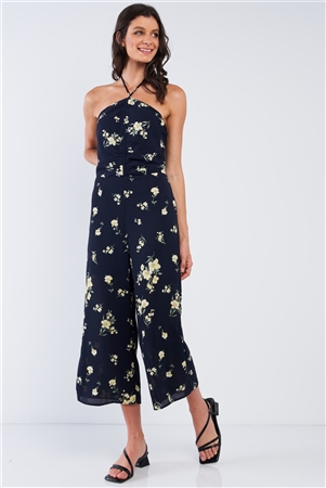 Navy Blue Floral Print Sleeveless Gathered Chest Detail Open Back Halter Neck Tie Wide Leg Mini Jumpsuit