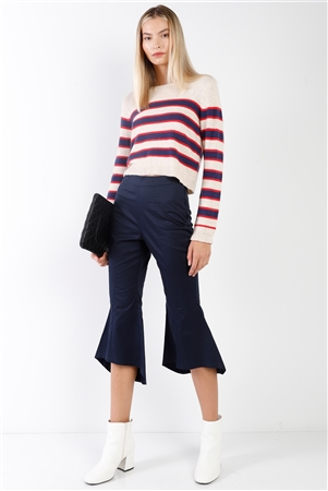 Navy Solid High Waisted Retro Flare Pants /2-2