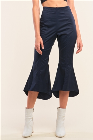 Navy Solid High Waisted Retro Flare Pants /1-2-2-1
