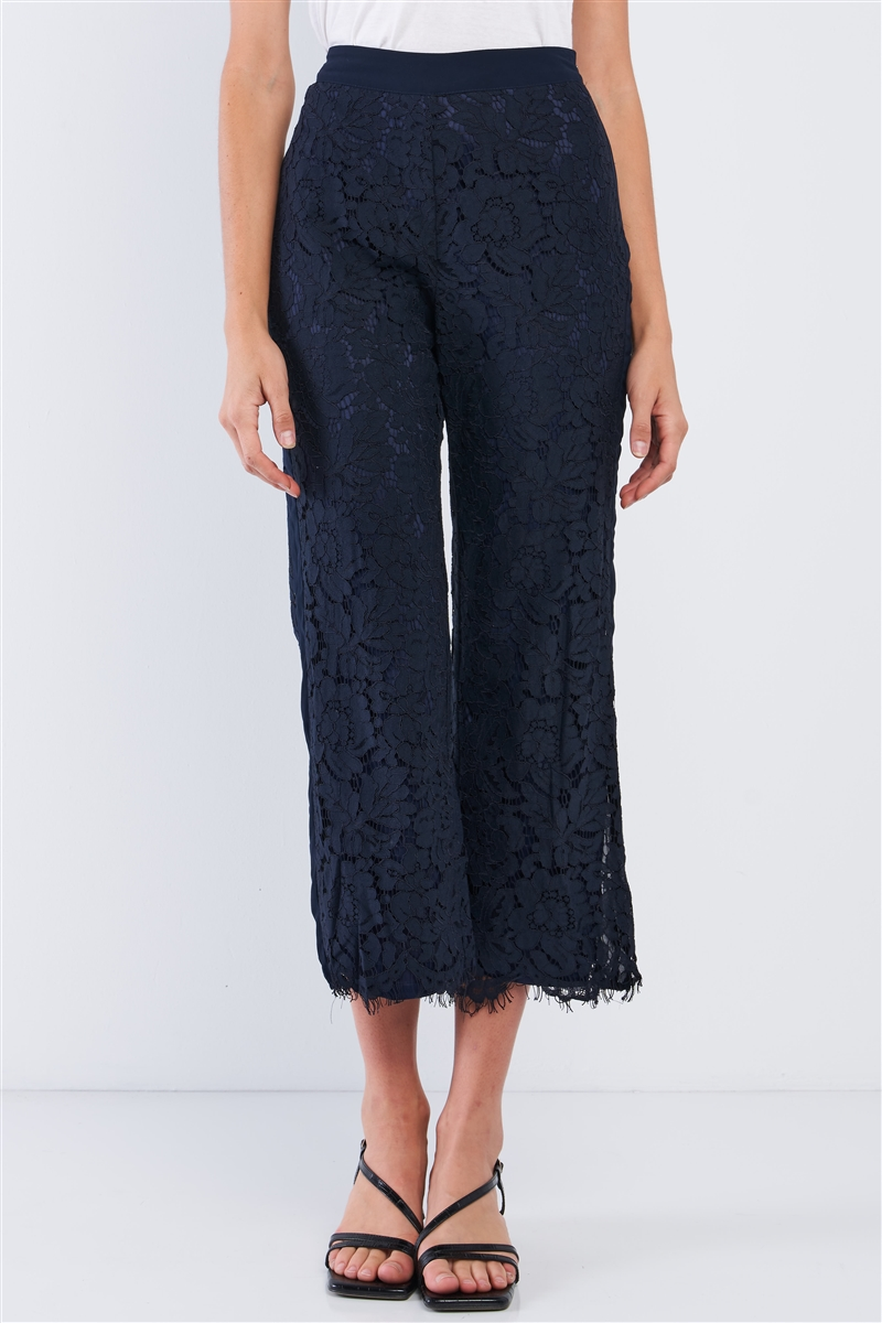 Navy Lace Embroidery High Waist Summer Capri Pants /1-2-1-1