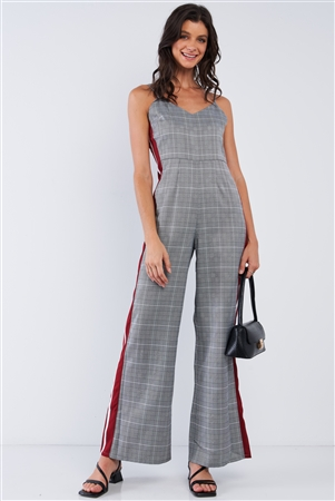 Grey Checkered V-Neck Sleeveless Red&White Accent Side Stripe Wide Leg Jumpsuit /1-2-2-1