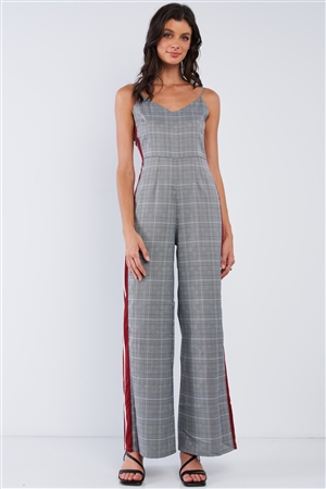 Grey Checkered Sleeveless Red&White Accent Side Stripe Wide Leg Jumpsuit /1-2-3