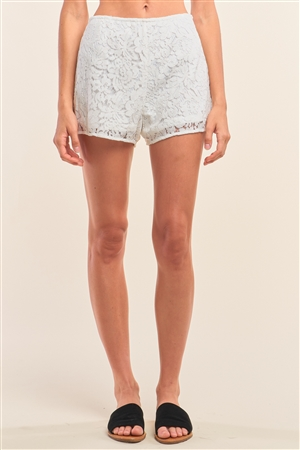 White Boho Crochet High Wasted Lined Mini Shorts /1-2-2-1
