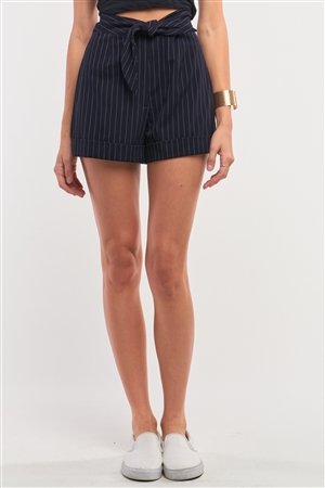 Navy Pinstriped Self-Tie High Waist Detail Lapeled Mini Shorts /1-2-2-1