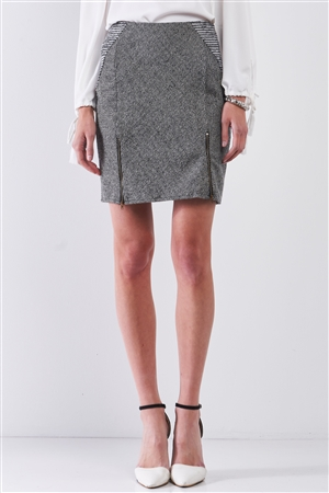 Grey & Black High-Waisted Woolen Button Zipper Details Pencil Mini Skirt /1-2-2-1