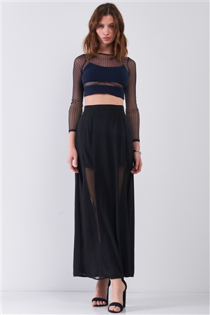 Black Combo Sheer Mesh Cut-Ins High Waist Maxi Skirt /1-2-1