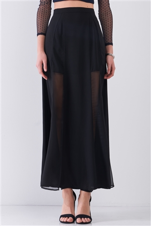 Black Combo Sheer Mesh Cut-Ins High Waist Maxi Skirt /1-2-2-1