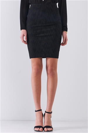 Black Multi Stripped High-Waisted Pencil Mini Skirt /1-1-2-1