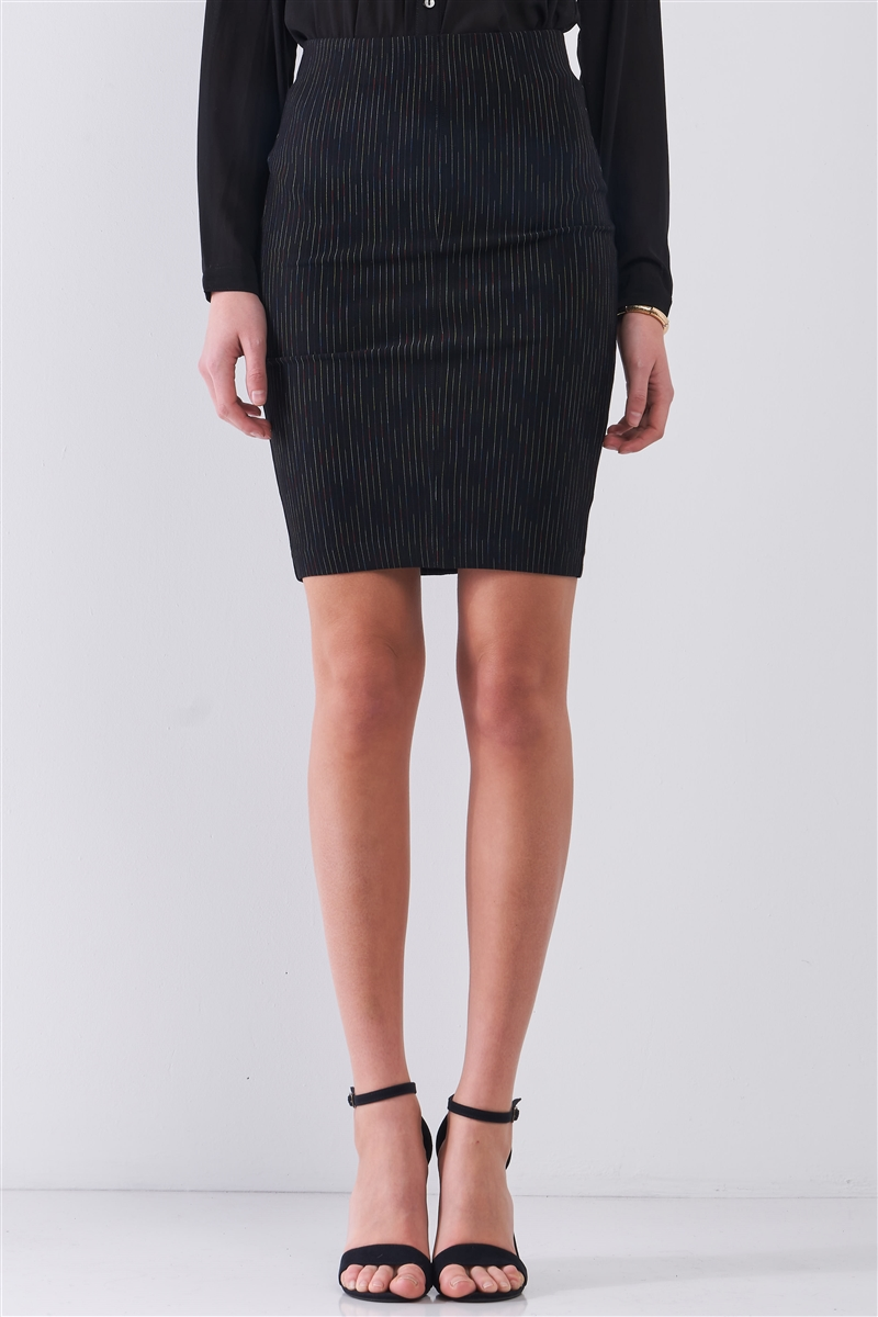 Black Multi Stripped High-Waisted Pencil Mini Skirt /1-2-2-1