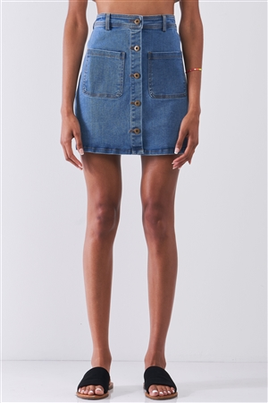 OG Vintage Blue Denim High Waist Button-Down Two Front Pockets Detail Mini Skirt