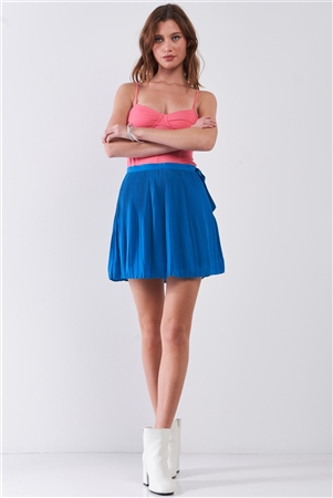 Sapphire Blue Pleated Side Self-Tie Bow Detail High Waist Flare Mini Skirt /1-1-2-1