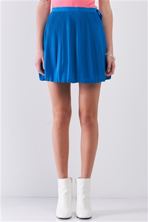 Sapphire Blue Pleated Side Self-Tie Bow Detail High Waist Flare Mini Skirt /1-2-2-1