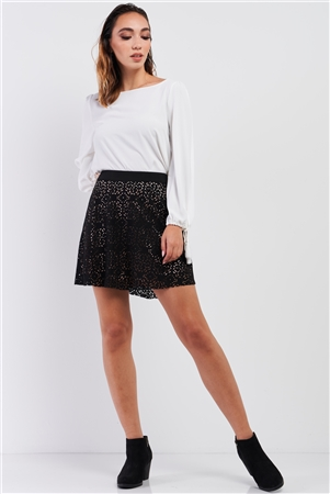 Black Laser Cut Flare Mini Skirt