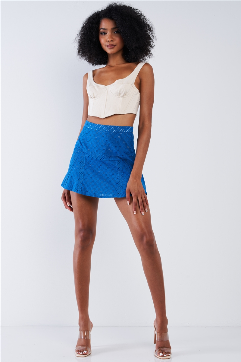 Blue Crochet High Waisted Lined Mini Skirt