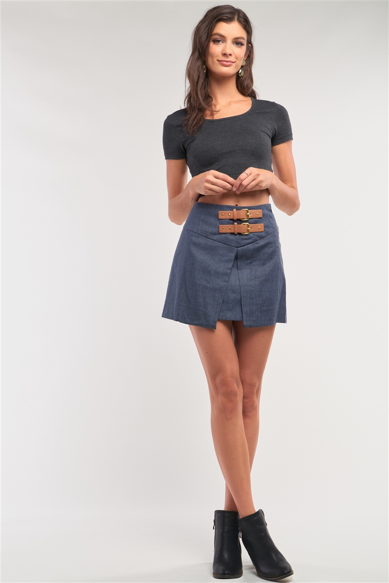 Navy High Waisted Pleated Front Belts Detail Mini Skirt /1-2-2-1