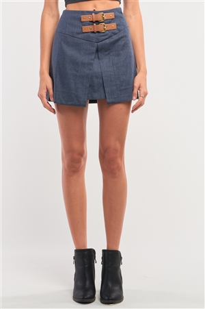 Navy High Waisted Pleated Front Belts Detail Mini Skirt /2-3-1