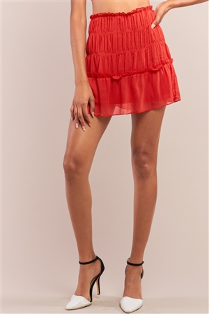 Red Casual Smock Detail Ruffle Mini Skirt