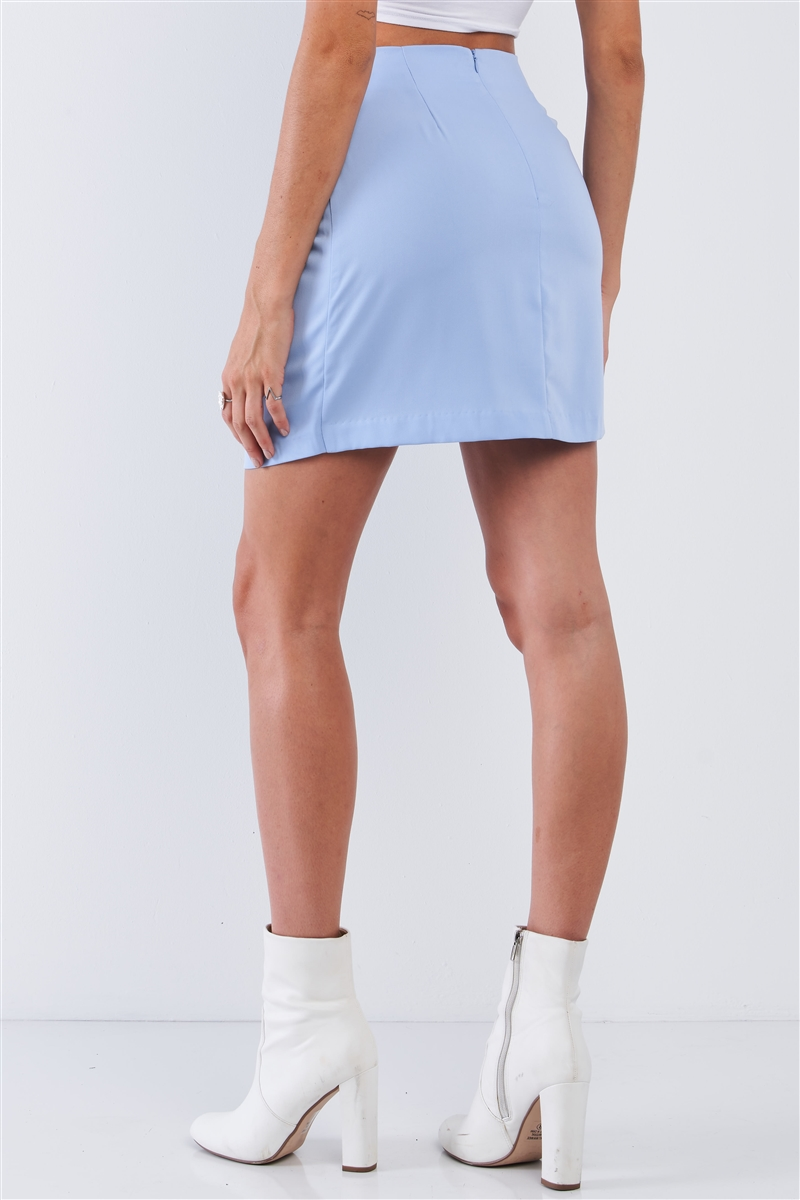 Ice Blue Wrap Front Tie Mini Skirt /3-3-1