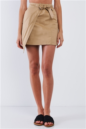 Camel Cargo Safari Double Layered High Waisted Wrap Mini Skirt