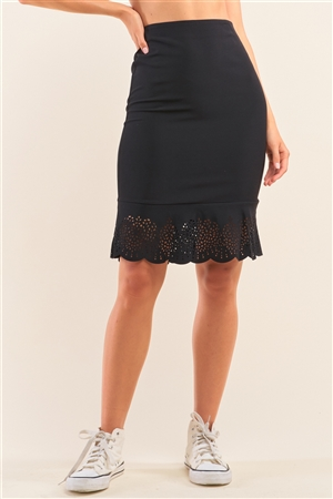 Black High Waist Bodycon Laser Cut Out Flounce Midi Skirt