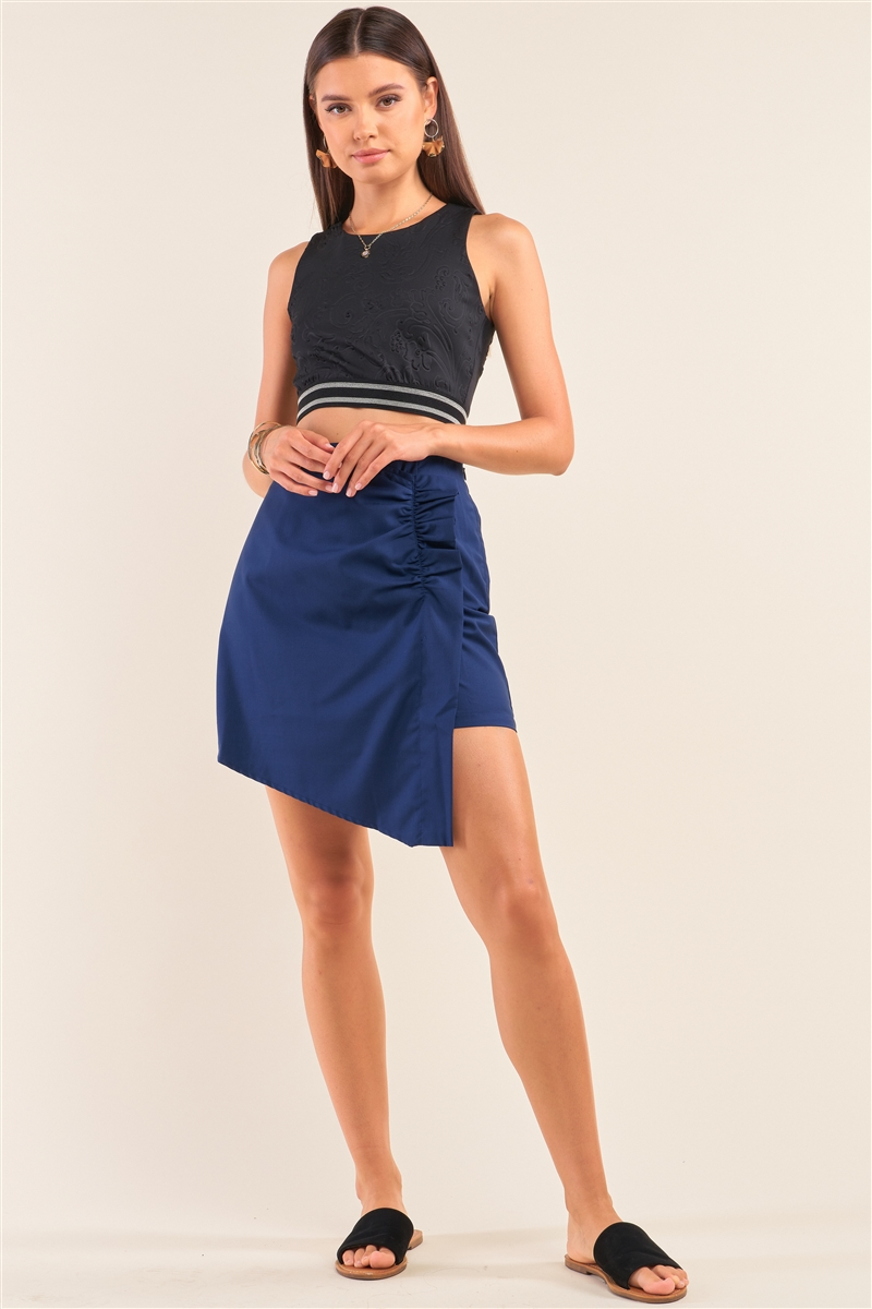 Cobalt Blue High Waist Asymmetrical Wrap Gathered Detail Mini Skirt /1-2-2-1