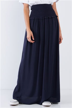 Navy Blue Festival High Waisted Loose Fit Wide Smock Waistline Maxi Skirt