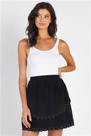 Black Smoked High Waist Keyhole Hem Detail Layered Flounce Mini Skirt /1-2-2-1