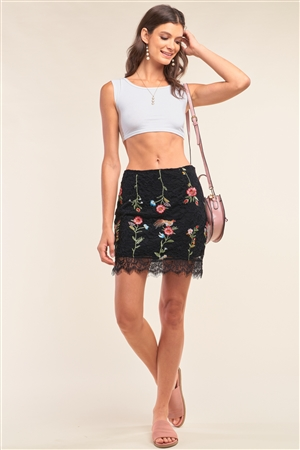 Black Floral Embroidery Mesh Lace High Waisted Scallop Hem Mini Skirt /1-2-3