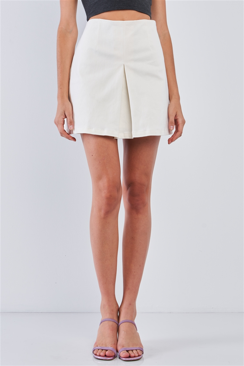Ivory Minimalistic High Waist Pleated Front Mini Skirt /1-2-2-1