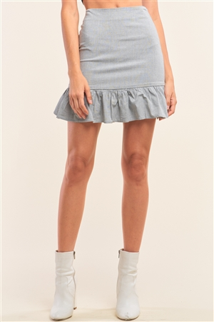 Light Grey Solid High Waisted Fitted Flare Hem Detail Mini Skirt /1-2-2-1