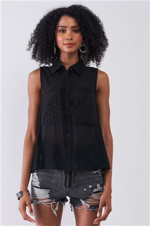 Black Sheer Sleeveless Crochet Combo Detail Collared Relaxed Top /1-1-2-1