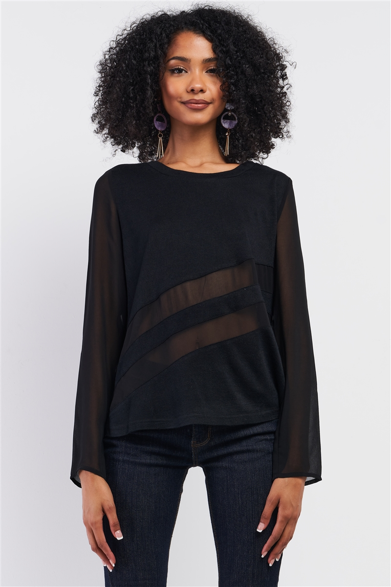Black Long Sleeve Mesh Detail Relaxed Fit Sweater /1-2-2-1