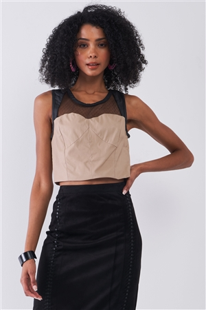 Tan & Black Sleeveless Vegan Leather Mesh Combo Sweetheart Neck Crop Top /1-2-2-1