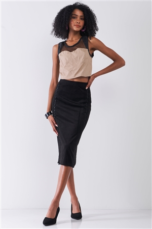 Tan & Black Sleeveless Vegan Leather Mesh Combo Sweetheart Neck Crop Top /1-3-2