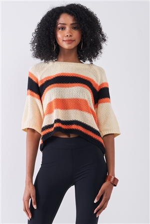 Beige Multicolor Striped Knit Wide Midi Sleeve Crop Sweater Top /1-2-2-1