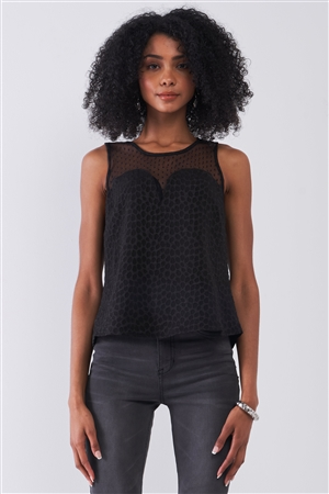 Black Sleeveless Round Neck Sweetheart Imitation Polka Dot Sheer Mesh Print Press Back Cut-Out Details Top /1-1-2-1